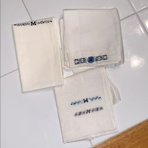 "VTG lot of 3 monogrammed ""M"" men's handkerchiefs"